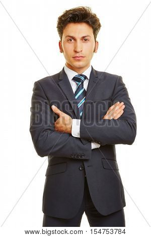 Business man with his arms crossed in frontal view