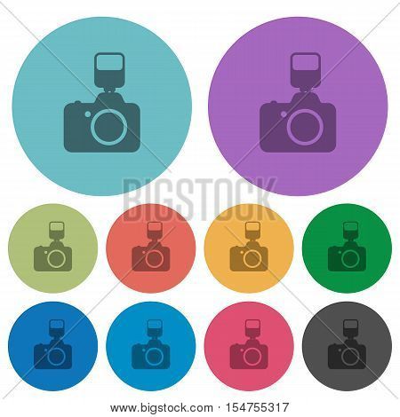 Camera with flash flat icons on color round background.