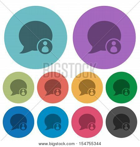 Blog comment sender flat icons on color round background.