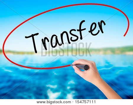 Woman Hand Writing Transfer With A Marker Over Transparent Board