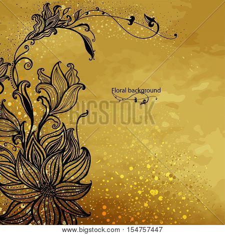 Flower design on a gold background. Hand drawn flowers. Decorative floral ornament. Vector illustration.