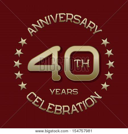 40th anniversary celebration logo symbol. Golden circular editable emblem on red.