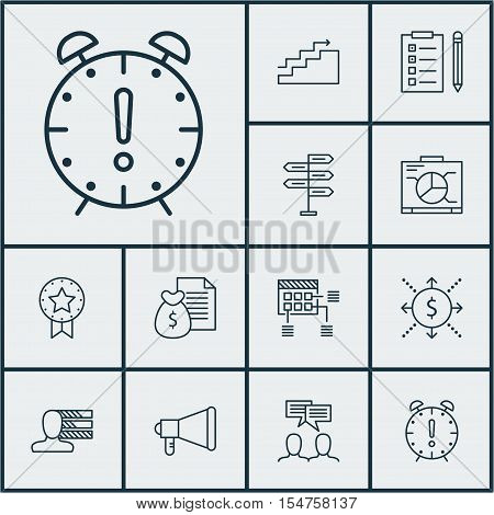 Set Of Project Management Icons On Growth, Discussion And Board Topics. Editable Vector Illustration