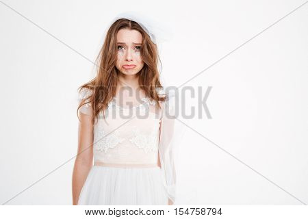 Sad bride. Isolated white background