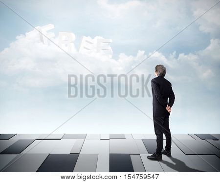 Businessman looking on sky front and he see word