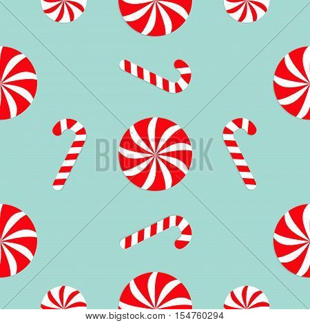 Christmas Candy Cane Round white and red sweet set. Seamless Pattern Decoration. Wrapping paper textile template. Blue background. Flat design. Vector illustration.
