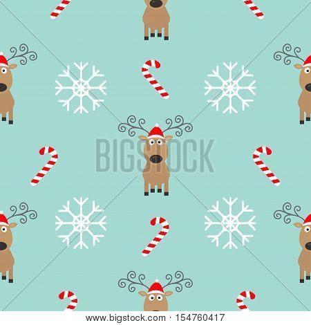 Christmas snowflake candy cane deer wearing red santa hat. Seamless Pattern Decoration. Wrapping paper textile template. Blue background. Flat design. Vector illustration.