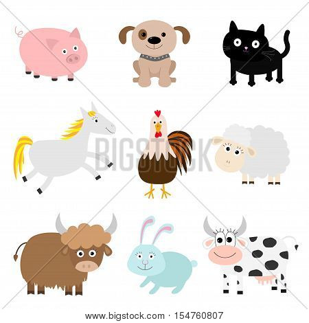 Farm animal set. Cock pig dog cat cow rabbit ship horse rooster bull Baby collection. Flat design style. Isolated White background Vector illustration