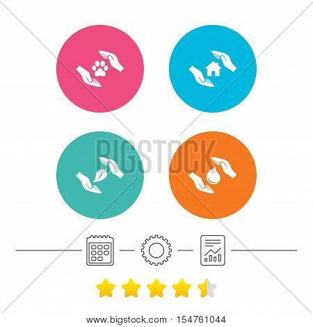 Hands insurance icons. Shelter for pets dogs symbol. Save water drop symbol. House property insurance sign. Calendar, cogwheel and report linear icons. Star vote ranking. Vector