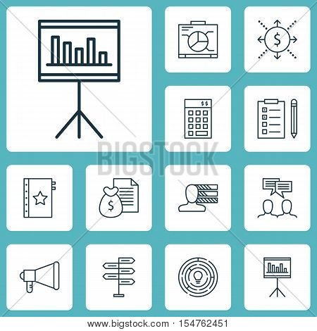 Set Of Project Management Icons On Warranty, Discussion And Presentation Topics. Editable Vector Ill