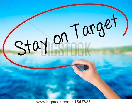 Woman Hand Writing Stay On Target With A Marker Over Transparent Board.
