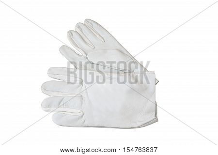 Soft leather gloves for welding, insulated on . Accessories of welder.