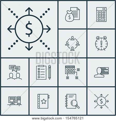Set Of Project Management Icons On Time Management, Schedule And Discussion Topics. Editable Vector