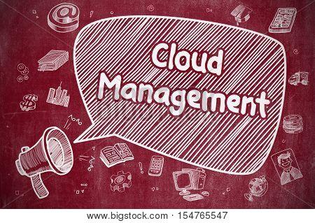 Shrieking Bullhorn with Text Cloud Management on Speech Bubble. Cartoon Illustration. Business Concept.