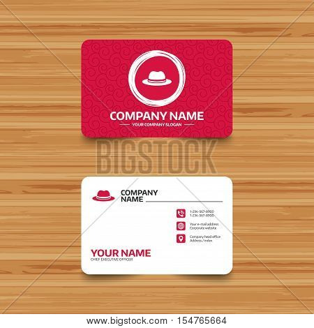 Business card template with texture. Top hat sign icon. Classic headdress symbol. Phone, web and location icons. Visiting card  Vector