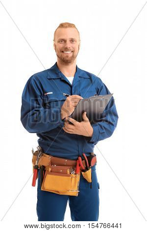 Handsome worker with pen and clipboard, isolated on white