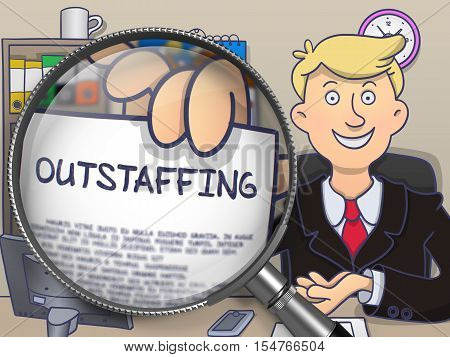 Outstaffing on Paper in Businessman's Hand to Illustrate a Business Concept. Closeup View through Lens. Colored Modern Line Illustration in Doodle Style.