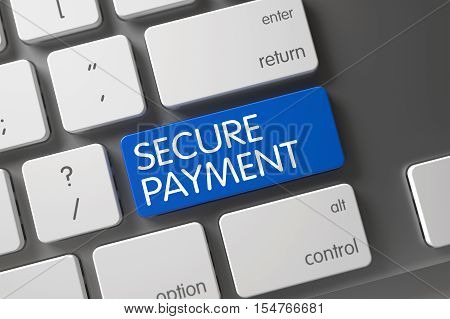 Concept of Secure Payment, with Secure Payment on Blue Enter Button on Modern Laptop Keyboard. 3D Illustration.