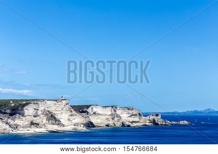 Ending point of a cliff that contains a bay