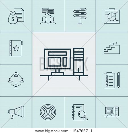 Set Of Project Management Icons On Report, Opportunity And Analysis Topics. Editable Vector Illustra