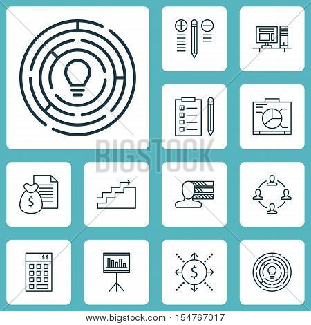 Set Of Project Management Icons On Collaboration, Board And Reminder Topics. Editable Vector Illustr
