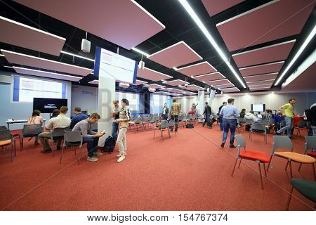 MOSCOW - MAY 20, 2015: Business master class at Free City Hall