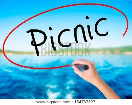 Woman Hand Writing Picnic With A Marker Over Transparent Board