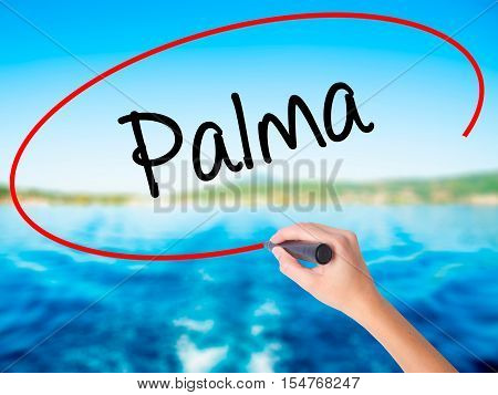 Woman Hand Writing Palma  With A Marker Over Transparent Board