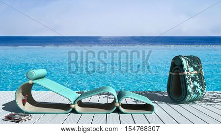 Infinite pool with deck, exterior design, 3d illustration