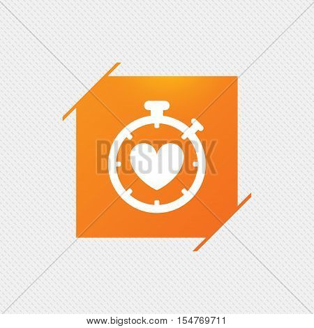 Heart Timer sign icon. Stopwatch symbol. Heartbeat palpitation. Orange square label on pattern. Vector