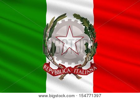 Flag of Italy officially the Italian Republic is a unitary parliamentary republic in Europe. 3d illustration