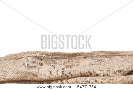 burlap or jute border,isolated on white background