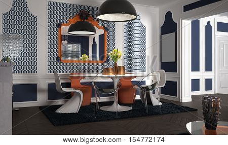 Eclectic and classic living, interior design, 3d illustration