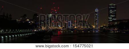 London Night Cityscape, including Vauxhall Bridge and St George Wharf Tower, seen from Westminster Bridge