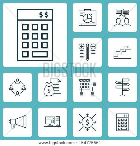 Set Of Project Management Icons On Growth, Announcement And Discussion Topics. Editable Vector Illus
