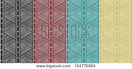 Abstract Tribal Pattern. African Lines Pattern. Seamless Ethnic Pattern with Lines. Colorful Pattern. Vector Pattern Set. Stripes Pattern. Vector Seamless Pattern.