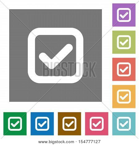 Checkbox flat icons on simple color square background.