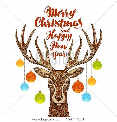 Merry Christmas and Happy New Year. Reindeer with xmas decorations
