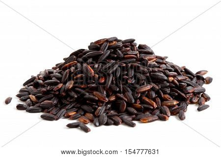 Pile Of Nerone Black Long Grain Rice Isolated On White.