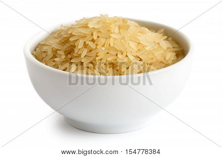 Bowl Of Long Grain Parboiled Rice Isolated On White.