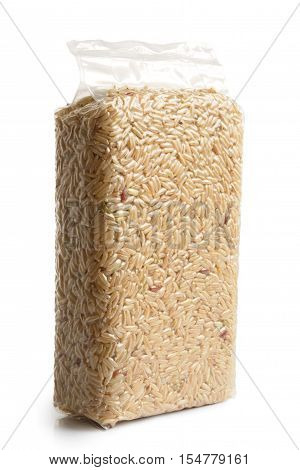Vacuum Packed Long Grain Brown Rice Isolated On White.
