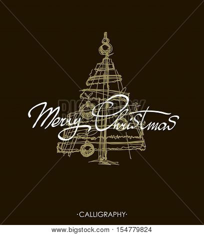 Merry Christmas greeting card with calligraphy. Merry Christmas text design. Vector logo typography. Usable as banner greeting card Christmas tree. Hand drawn design elements.