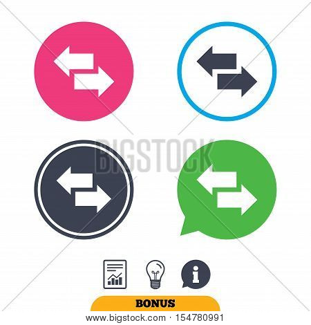 Incoming and outgoing calls sign. Upload. Download arrow symbol. Report document, information sign and light bulb icons. Vector