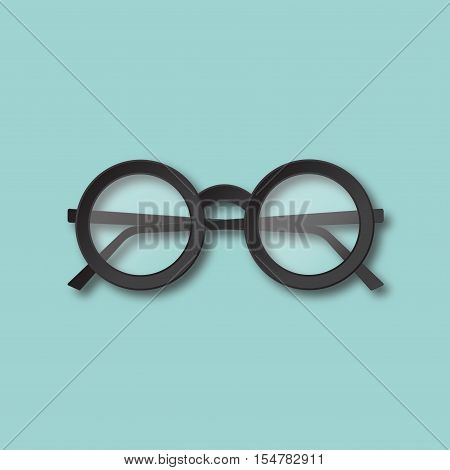 Eyeglasses Isolated Vector Illustration. Black Round Hipster Glasses Top View. Material Flat Design.