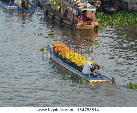 Floating Market In Mekong Delta, Southern Vietnam