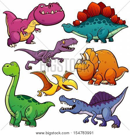 Vector illustration of Cartoon Dinosaur Character Set