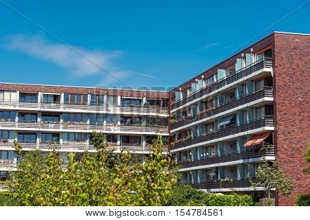 Apartment houses with red bricks seen in Berlin, Germany