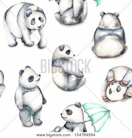 Seamless pattern with watercolor pandas, hand drawn isolated on a white background