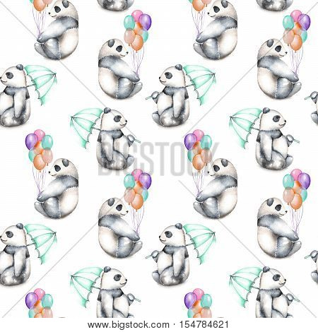 Seamless pattern with watercolor pandas with air baloons and umbrella, hand drawn isolated on a white background