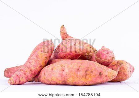 organic sweet potato yam on white background healthy fruit food isolated